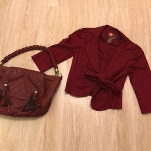 Jackets & Blazers - Burgundy over coat and purse combo!